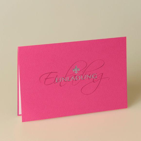 EINLADUNGSKARTE  Farbe: Pink mit silberner Schrift, Papier: matt-gehämmertes Feinstpapier, Format: 16,5 x 10,9 cm geschlossen (BxH), 16,5 x 21,8 cm offen (BxH), Veredelungen: Heißfolienprägung, Umschläge: Passend lieferbar, Besonderheiten: besondere Schrift, Heißfolienprägung in Silber, Preis: 1,89 EUR (inkl. Versandumschläge und MwSt.)