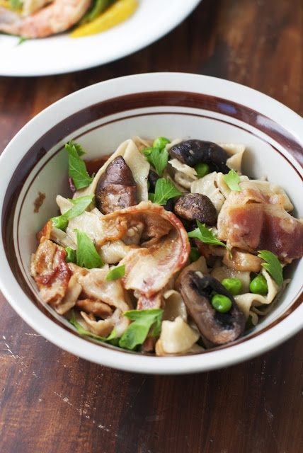 Pasta with Bacon, Peas and Mushrooms | La Dolce Vita ~ Italy Love | P ...