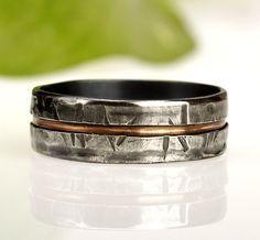 Rustikale Herrenring, einzigartige Männer ring, Mannes Ehering, einzigartigen Menschen Ring, Männer Hochzeit Ring, Geschenk für Männer, Silber & Kupfer Ring, RS-1081