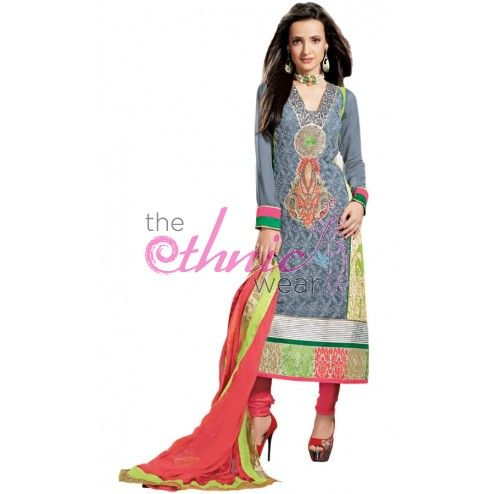 Sanaya Irani Grey Georgette #AnarkaliKameez #SalwarKameez #SalwarSuits #Fashion #Dress