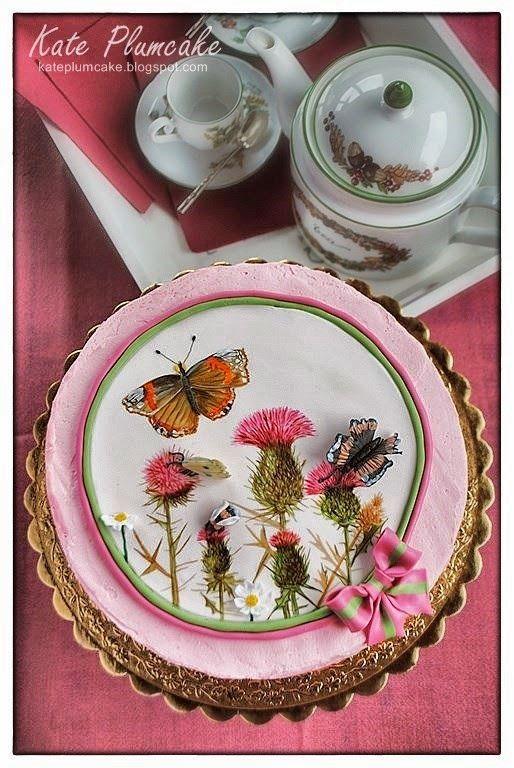 Kate Plumcake - Italian Cake Art                         : Torta dipinta prato fiorito con cardi - Hand paint...
