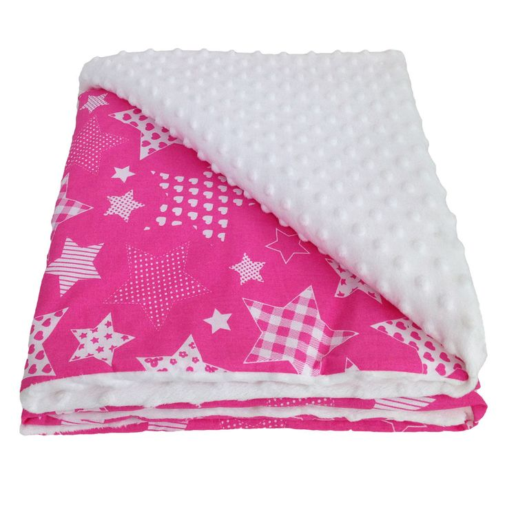 Mały koc różowe gwiazdy z bielą