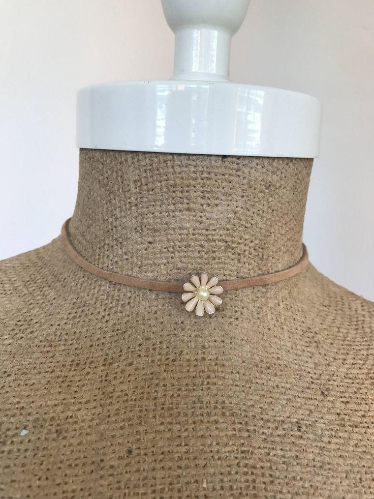 Dainty Repurpsed Vintage Daisy Flower Suede Choker Necklace / Wrap Bracelet in Beige / Tan by EdieLucyDesigns on Etsy