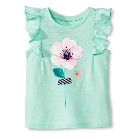 Toddler Girls' Flutter Sleeve Flower Tee - Aqua Float Size 3 4 or 5t