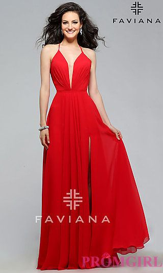 Red lace up prom dress
