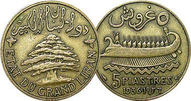 Lebanon 5 Piastres  1925 to 1940