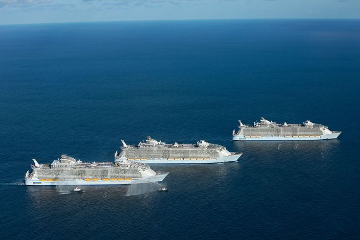 Royal Caribbean has posted a video of that historic meetup of all three Oasis class cruise ships