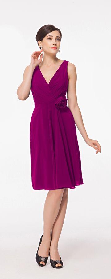 Magenta bridesmaid dresses knee length V neck bridesmaid dress for summer wedding