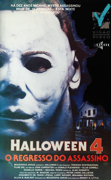Halloween 4 - O Regresso do Assassino / Halloween 4: The Return of Michael Myers (1988) Dwight H. Little - edição para videoclube de 1989 da Visão Video . 90 m