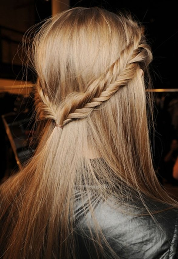 Half up/half down fishtail braid.