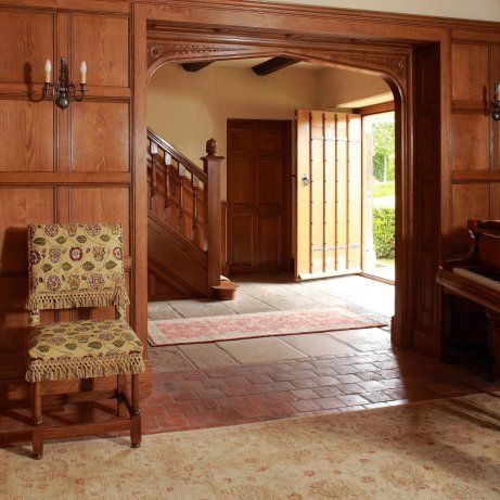 Tudor Arched Oak Panelled Entrance Hall Staircase Front
