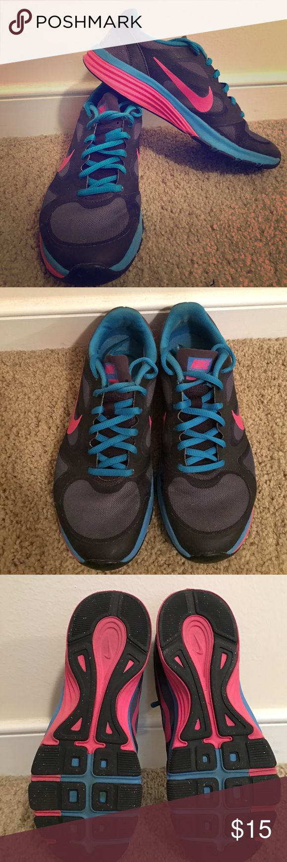 Nike Dual Fusion TR in bright blue and pink Super cute nikes in great condition Nike Shoes Sneakers