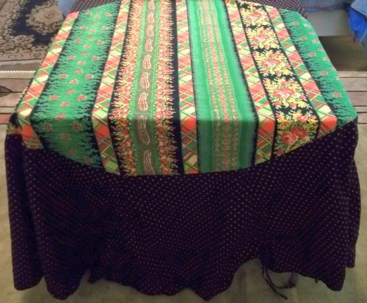 April Cornell Floral Paisley Plaid Oval Tablecloth Polka Dot Sides Ruching  Ties