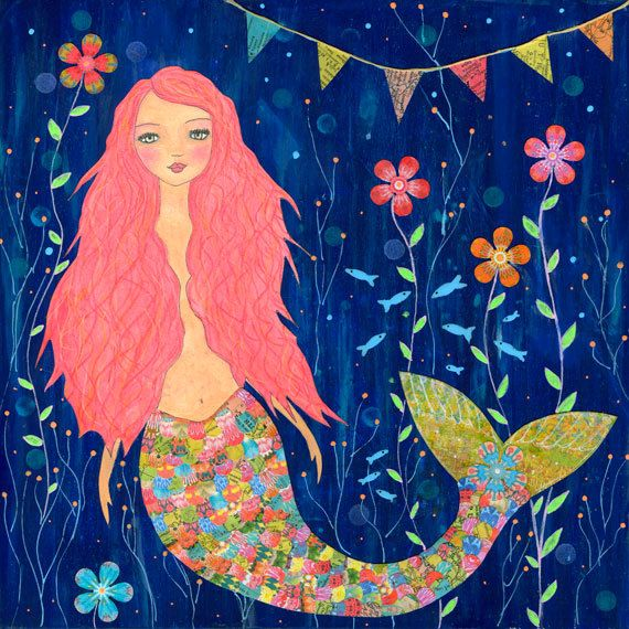 Original Painting Folk Art Mermaid Whimsical Pink by Sascalia