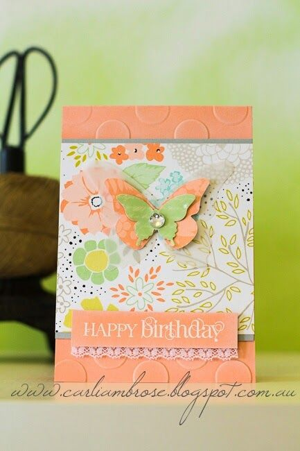 I will always and forever be obsessed with butterflies. This card is making me want to pull out my remaining pack of Sweet Sorbet DSP!