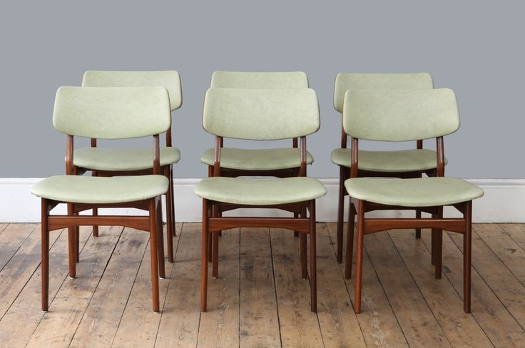 Set of six dining chairs with teak frame and original mint green skai upholstery.  Measurements: H: 79.5cm // SH: 48cm...