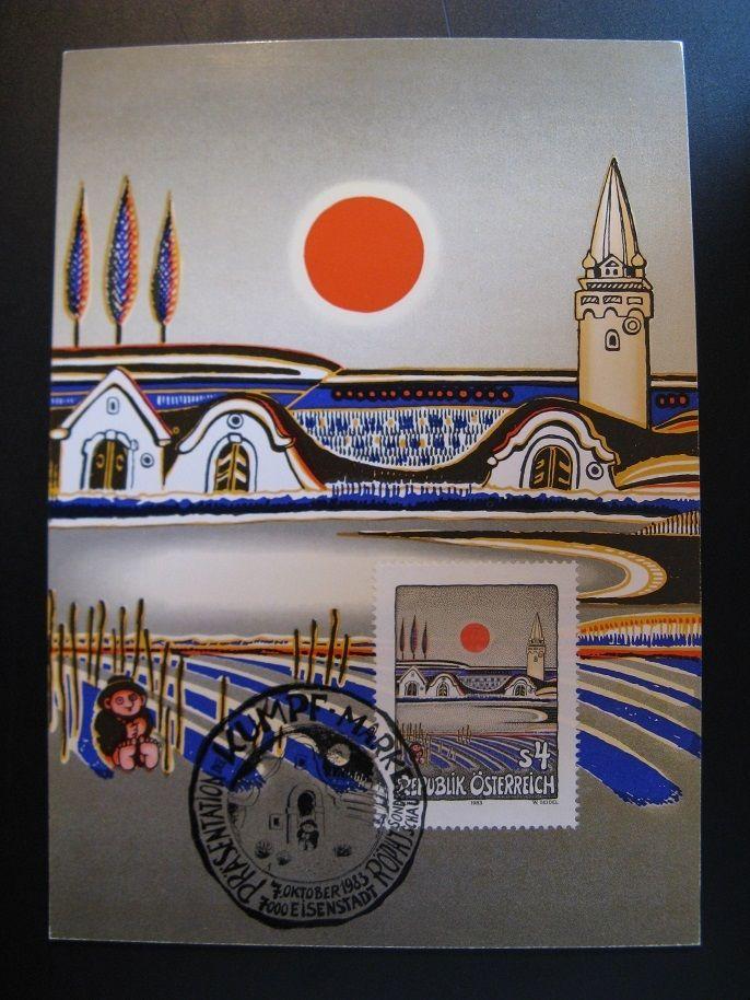 """Austria fine art painting maximum card Gottfried Kumpf 1983...""""Abendsonne..."""""""