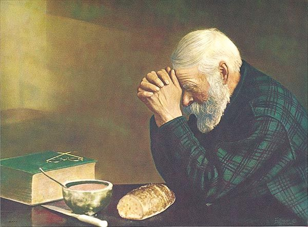 """The photograph """"Grace,"""" depicting an elderly man bowing his head and giving thanks, taken in Bovey, Minnesota, in 1918, by Eric Enstrom, was adopted as the official state photograph of Minnesota in 2002."""