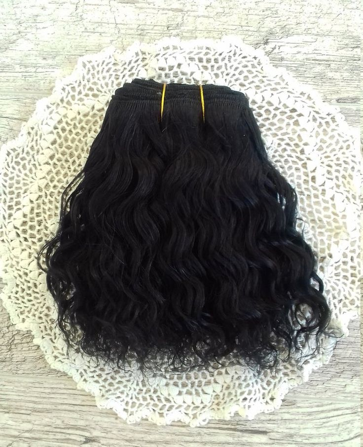Weft doll hair mohair goat hair 1 m for waldorf doll wig custom Blythe wig natural Wool Doll Hair Black hair