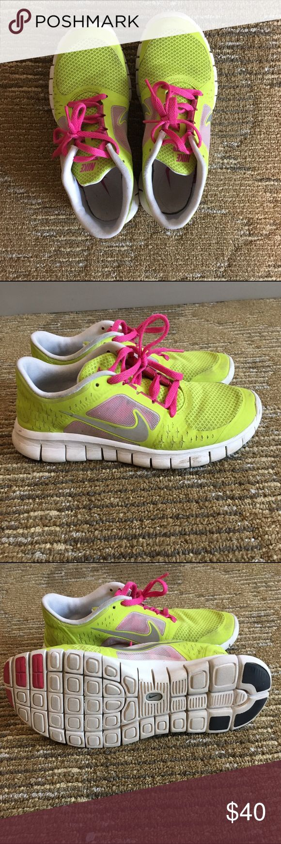Nike free run 3.0. BIG KID SIZE 5.5/WOMEN SIZE 7 Cute nikes to wear at the gym, to go running, or for fashion purposes! Lime green m with bright pink laces. Worn a decent amount but still in good shape!! These are kids size 5.5 equivalent to women size 7! Nike Shoes Sneakers