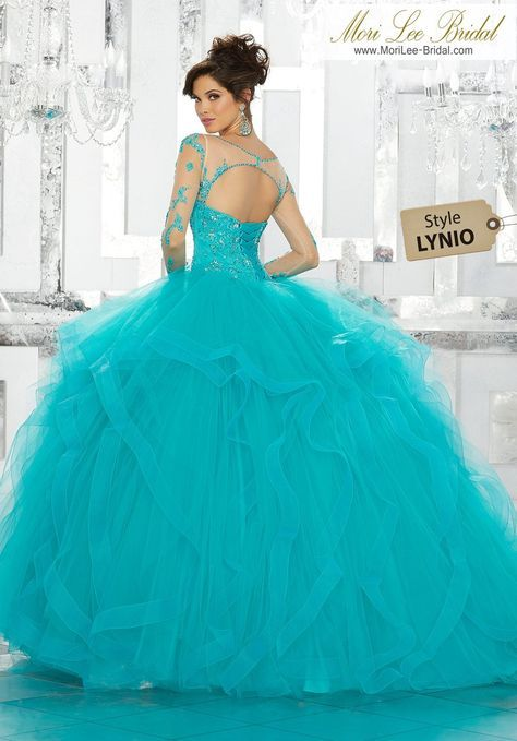 0aee0c0ab Beaded Embroidery on Net with Flounced Tulle Ball Gown Skirt This Gorgeous  Quinceañera Ballgown Features a Beaded and Embroidered Bodice Accented with  an ...
