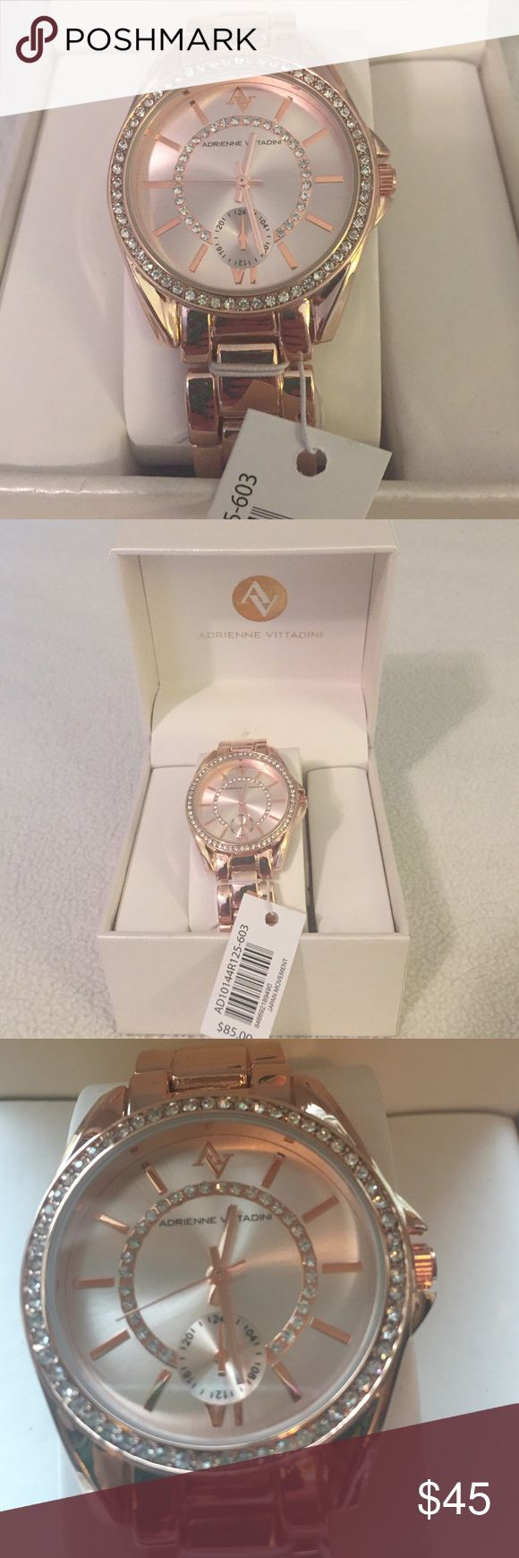 Gorgeous NWT Rose Gold Adrienne Vittadini Watch Absolutely stunning watch by Adrienne Vittadini. Beautiful crystal/rhinestone detailing surrounding the face of the watch as well as on the face of the watch. Links can be taken out to adjust to any wrist. Adrienne Vittadini Accessories Watches