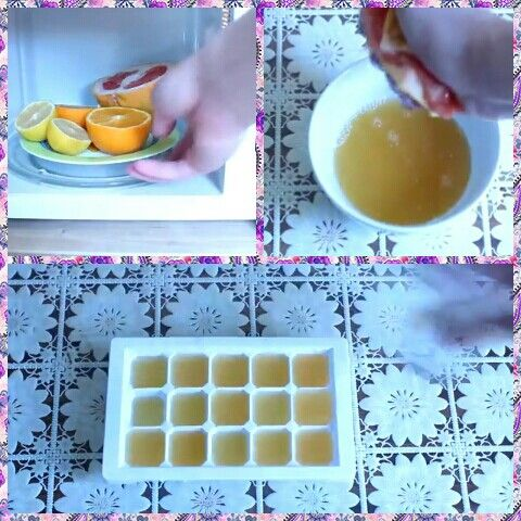 1)Цитрусовые фрукты поставить в микроволновку для того что бы легче было выдавить сок 2) Сок заморозте 3)Кубики льда кидайте в летние напитки для оглаждения