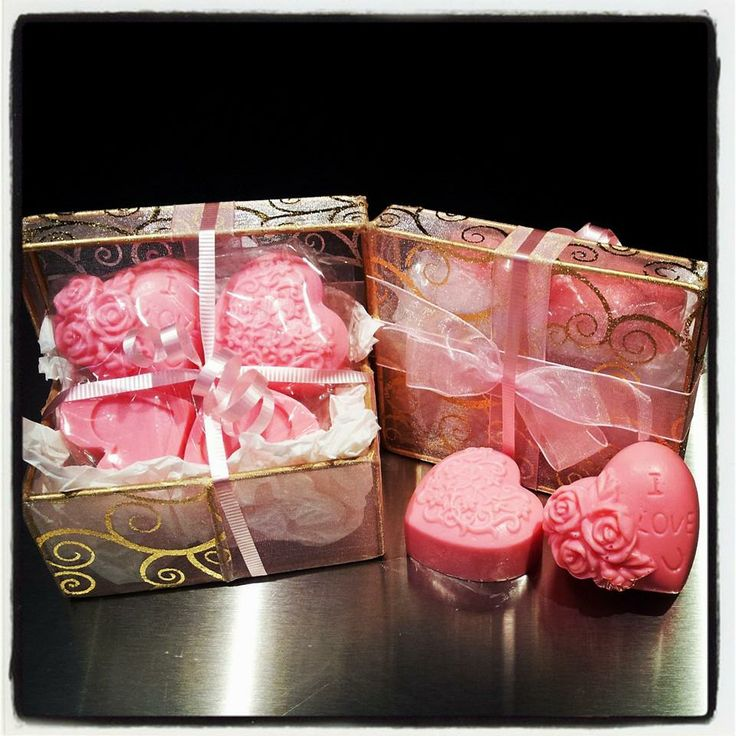 Four 'Aphrodisiac' scented heart soaps for Valentines, or any special day, all gift ready in a beautiful organza & metal box for that some special. At Kiozwi Handmade Preston #kiozwi #kiozwihandmade #valentines