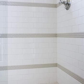 Gray Penny Tiles with White Subway Tiles