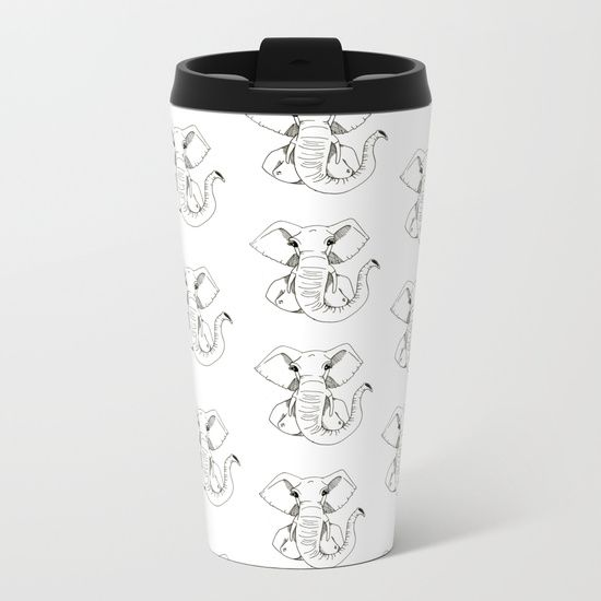 DESCRIPTION Talk about steely good looks. In addition to a 360-degree wraparound design, our metal travel mugs are crafted with lightweight stainless steel - so they're pretty much indestructible. Plus, they're double-walled to keep drinks hot (or cold), fit in almost any size cup holder and are easy to clean. ABOUT THE ART The elephant woman is patient. Elephant head on a woman's body. #graphic-design #ink #pattern #black-and-white #pop-art #comic #illustration #stencil #elephant #halloween