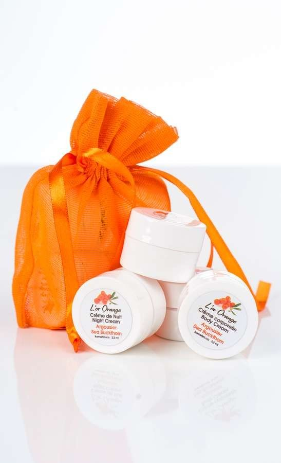 This discovery set contains 4 samples.  1 sea buckthorn day cream 3.5 ml 1 sea buckthorn night cream 3.5 ml 1 sea buckthorn face scrub 3.5 ml 1 sea buckthorn body cream 3.5 ml  #seabuckthorn #naturalskincare