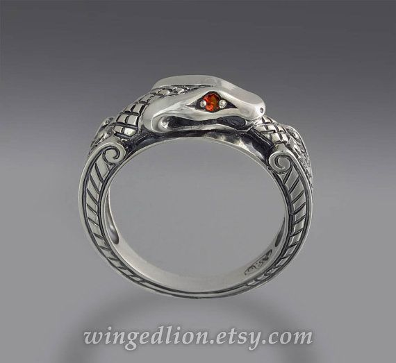 Superb size Ready to Ship OUROBOROS silver mens unisex Snake ring with Blue Sapphire eyes