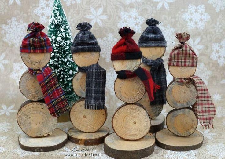 wood slice snowmen