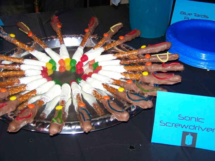 Doctor Who Party | Beyond The Crib - LOTS of really good ideas, including sonic screwdriver chocolate-dipped pretzel rods!