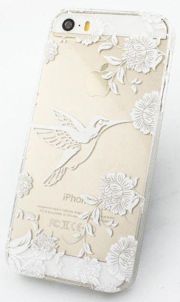 Fundas de plástico para iPhone con flores y pájaros