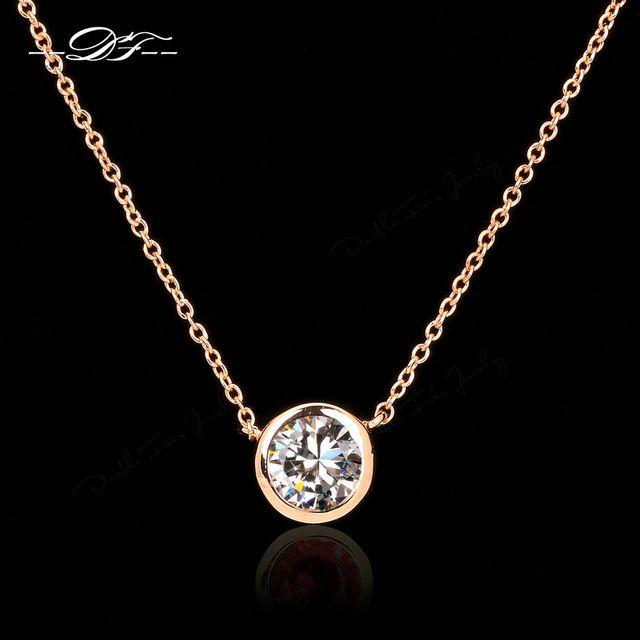 CZ Бриллиантовые Ожерелья и Кулоны 18 К Роуз Позолоченные Имитация Моды Gemstone Ювелирные Изделия Для Женщин Цепи Accessiories DFN454