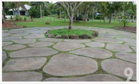 """Remove 4″ – 6 """" of soil. Inside and outside elevations are set with 1×4 bender board. Scratch out your desired paver shapes in the soil. After you have the layout complete, solidify your pavers with marking paint. Utilize 1×4 recycled plastic and 1/4″ massonite to form your pavers. Stringline you elevations as you go, …"""