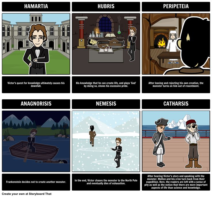 Create a Tragic Hero storyboard that follows Victor from Frankenstein.