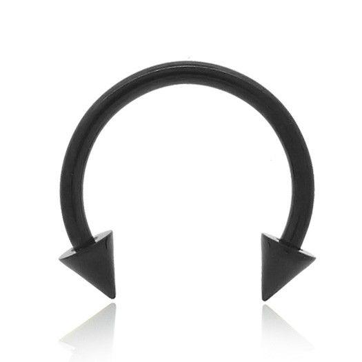 Piercing fer à cheval avec pics, en acier chirurgical anodisé noir. L'acier est un matériau de qualité pour tous les piercings.