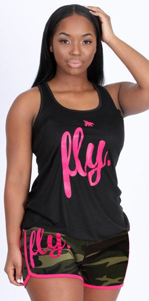 FLY. Tank & Camo Shorts Outfit - Black/Pink/Camo