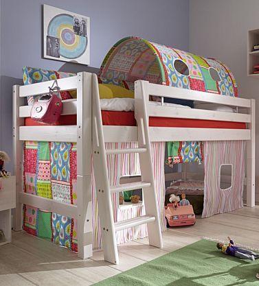 Kinderbett halbhohes Bett teilbar Textiltunnel Vorhang Kiefer massiv weiß Leiter kaufen bei Hood.de