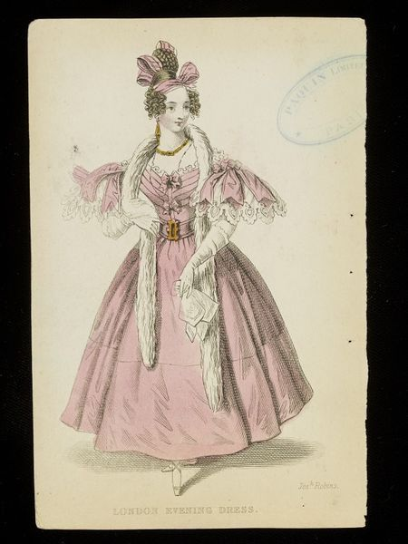 """""""London Evening Dress"""". Pink dress and fur boa. Fashion plate from an English publication, possibly the Ladies' Pocket Magazine. Mid 1830s."""