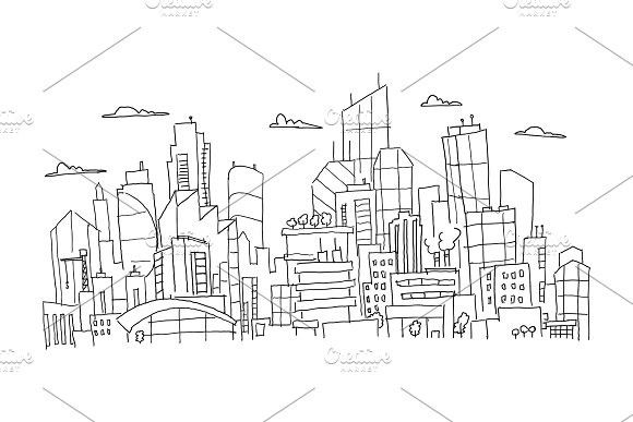 Big City Panorama Future Sketch Hand Drawn Vector Stock Line Illustration Building Architecture Landscape Line Illustration Hand Drawn Vector How To Draw Hands