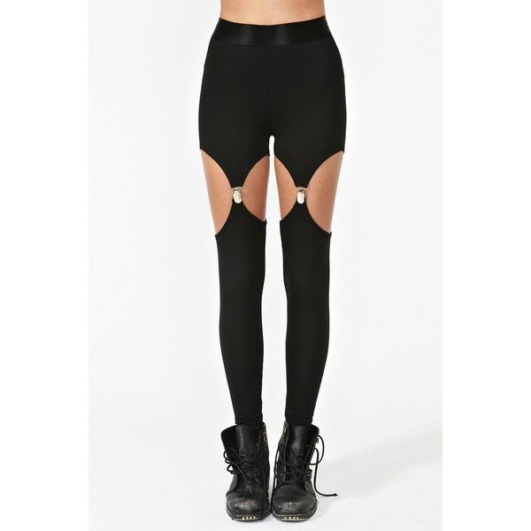Nasty Gal Garter Leggings ($38) ❤ liked on Polyvore featuring pants, leggings, bottoms, tights, jeans, black, black pants, black suspender leggings, black leggings and black stretch pants