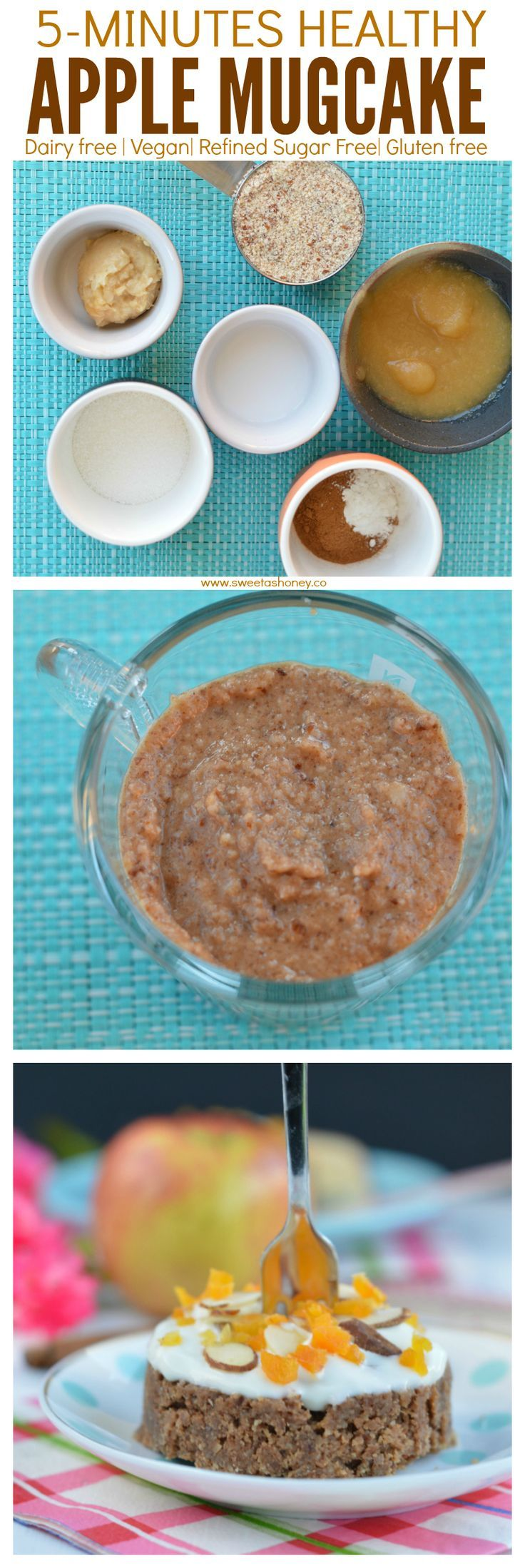 NO processed ingredients Here. Only natural goodness for an healthy 5 minutes Apple Mug cake that taste like Cinnamon Roll ! Vegan Mug Cake.