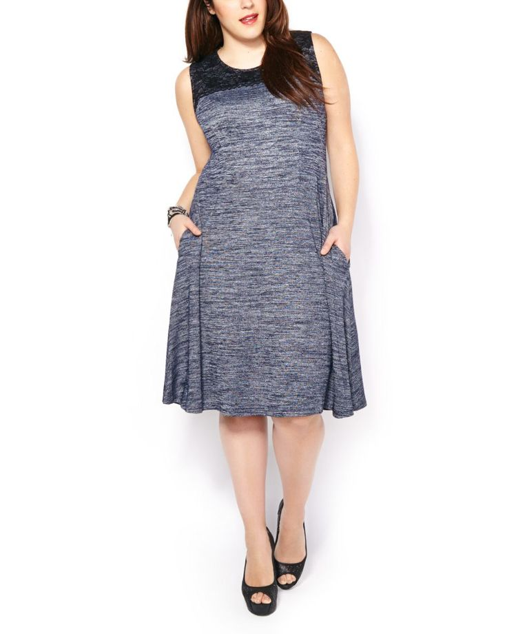 ONLINE ONLY - Sleeveless Two-Toned Knit Dress with Lace #penningtons #plussizefashion