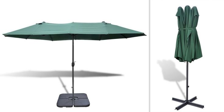 Large Outdoor Umbrella Green Garden Hotel Pool Lawn Crank Parasol Sunshade Base