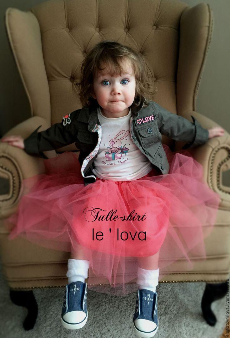 Купить Детская юбка из фатина цвет Коралл - коралловый, однотонный, юбка из фатина, балетная пачка