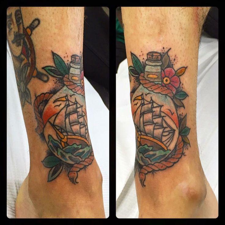 Ship Tattoo, ship in bottle tattoo, barco tattoo, barco en botella,  Love and Riot Tattoo Almeria, Spain tattooloveandriot@gmail.com