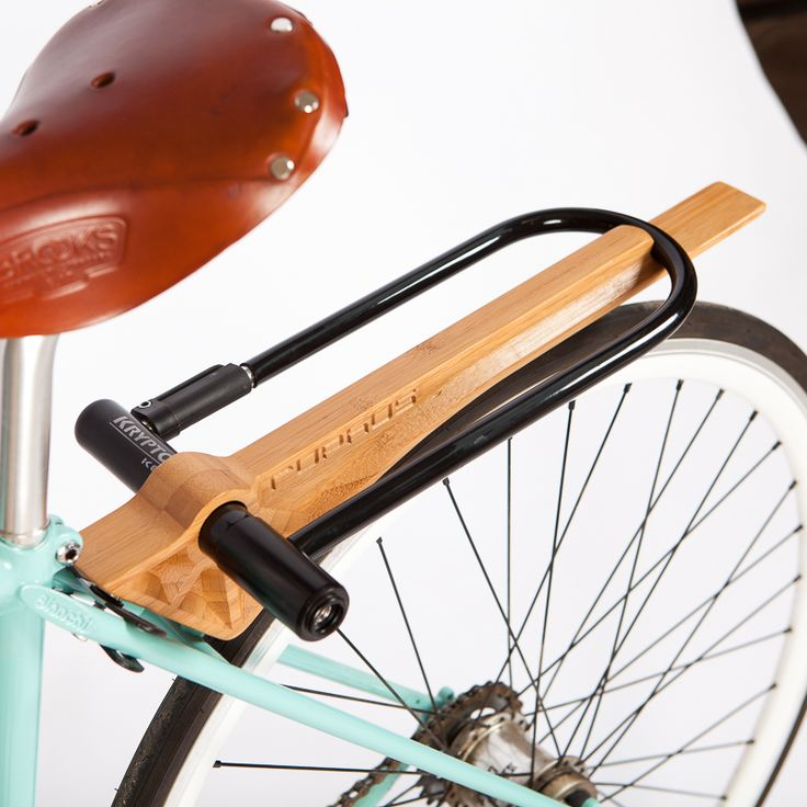 Slim: beautiful wood fender, rack + lock all in one.